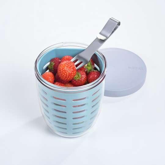 Mepal - Meal-Prep - Fruitpot mit Erdbeeren und Gabel