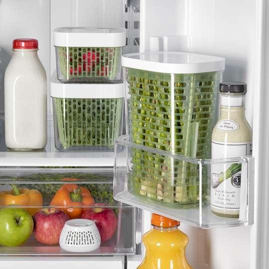 OXO GreenSaver Gemüsefacheinsatz und Frischhalteboxen Anwendung Kühlschrank