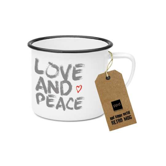 PPD  Happy Metal Mug Love & Peace,  603522