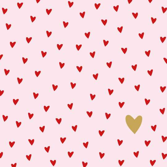 PPD 1333322· Little Hearts rosé Napkin, 33x33 cm / Servietten