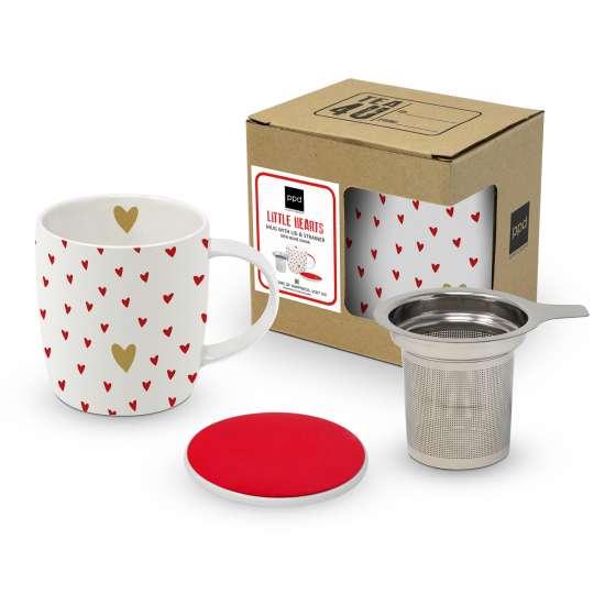 PPD 603598 · Little Hearts Mug Lid & Strainer cardboard / Becher mit Sieb
