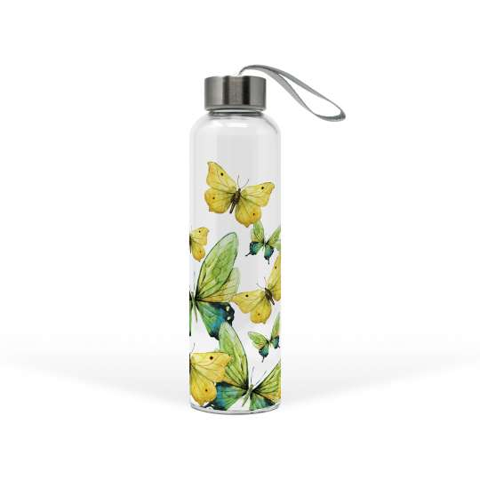 PPD 603651 · Green Butterflies Glass Bottle / Trinkflasche
