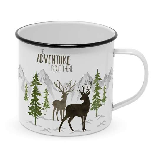 604108· Adventure Deer white Happy Metal Mug