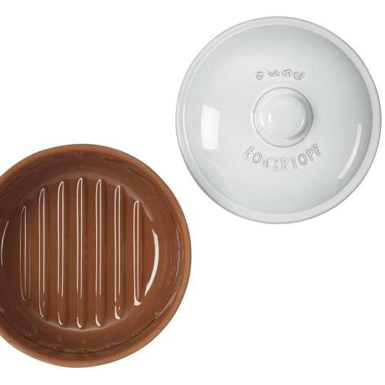 Römertopf - Brottopf rund, weiss glasiert, von innen, mit Deckel