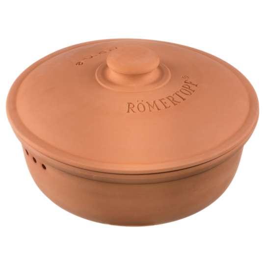 Römertopf - Brottopf rund, terracotta-rot, mit Deckel geschlossen