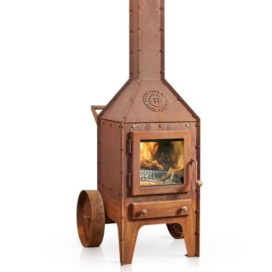 Stilvolle Gartenkamine von RB 73 - Modell Bijuga / Seitenansicht mit Feuer