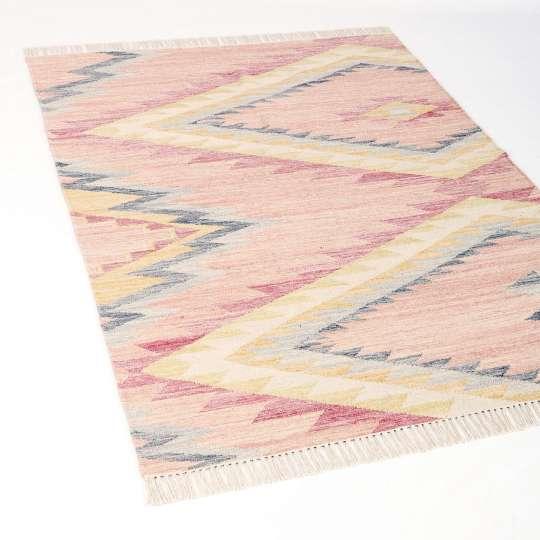 TOM TAILOR - Teppich VINTAGE - Zigzag Kelim berry 260 - Perspektive