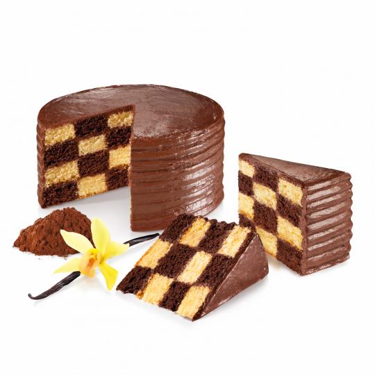 Schachbrettkuchen gebacken mit DELICIA Trennring von Tescoma
