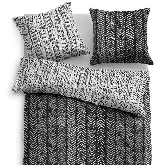 Tom Tailor Home Satin Bettwäsche schwarz/weiß