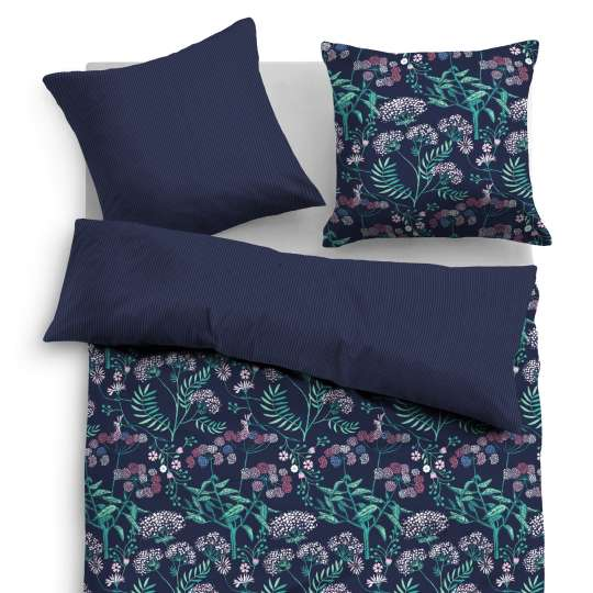 Tom Tailor Home Satin Bettwäsche midnight flowers dunkelblau