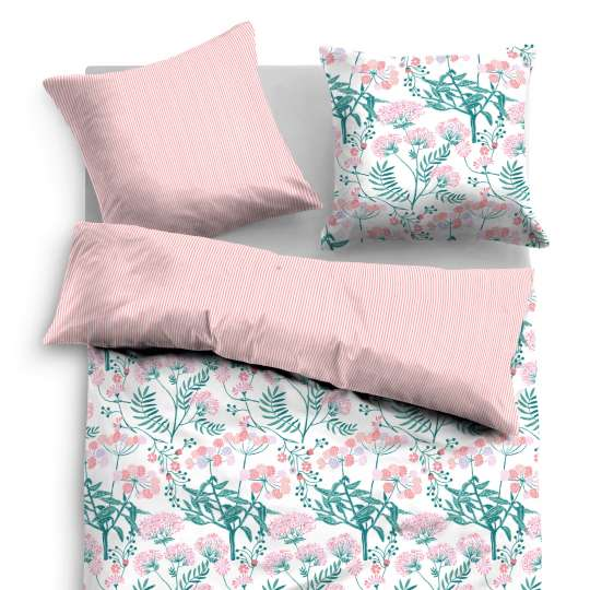 Tom Tailor Home Satin Bettwäsche midnight flowers rosa/weiß