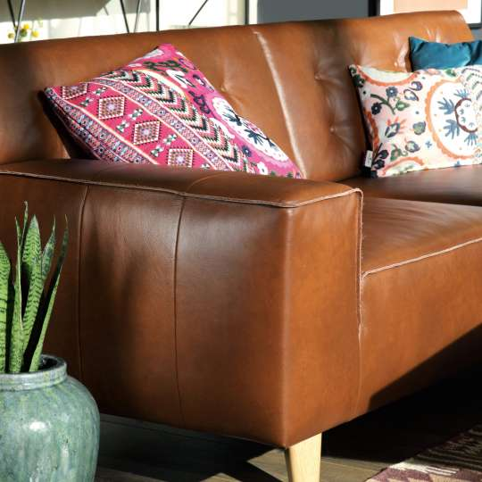 Tom Tailor Home Nordic Chic Sofa cognacfarbenes Leder Detail