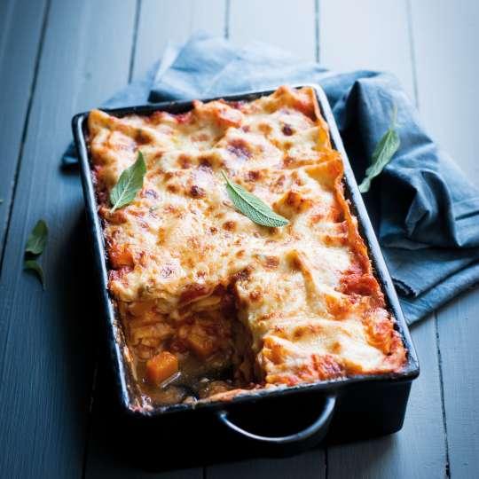 Kürbis-Hühnchen-Lasagne