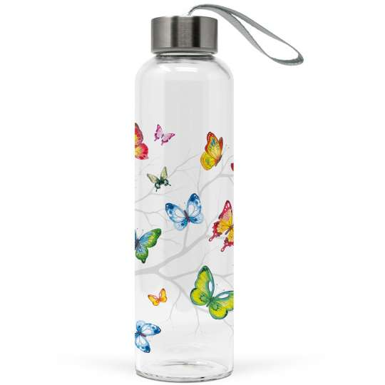 Ambiente: 'Colourful Butterflies' / Glas-Trinkflasche
