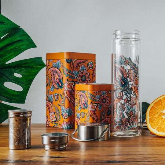 Eigenart: 'Fireflower' – Mood Flowtea Glasflasche geöffnet, Teedosen, Orange