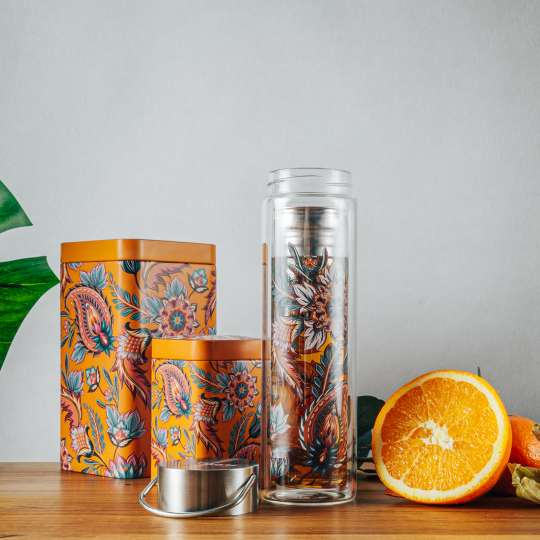 Eigenart: 'Fireflower' – Mood 4 / Flowtea Glasflasche/Teesieb, Teedosen, Orange