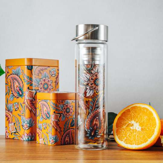 Eigenart: 'Fireflower' – Mood 5 / Flowtea Glasflasche/Teesieb, Teedosen, Orange