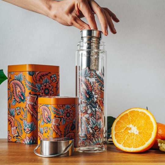 Eigenart: 'Fireflower' – Mood 1 / Flowtea Glasflasche/Teesieb, Teedosen, Orange