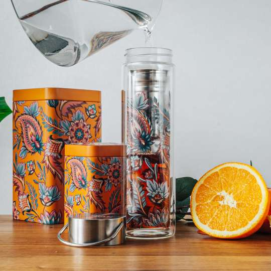 Eigenart: 'Fireflower' – Mood 3 / Flowtea Glasflasche/Teesieb, Teedosen, Orange