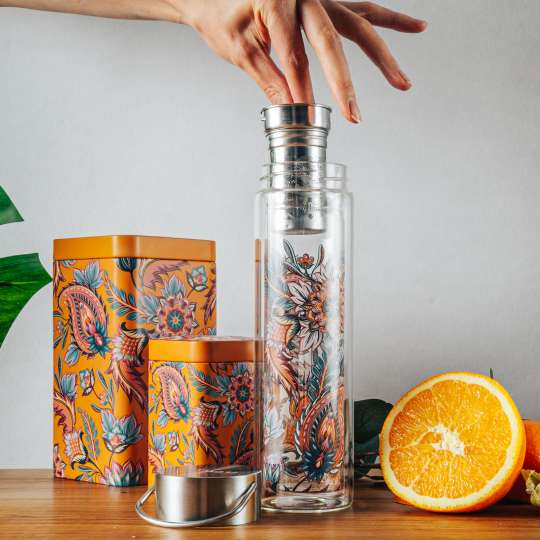 Eigenart: 'Fireflower' – Mood 2 / Flowtea Glasflasche/Teesieb, Teedosen, Orange