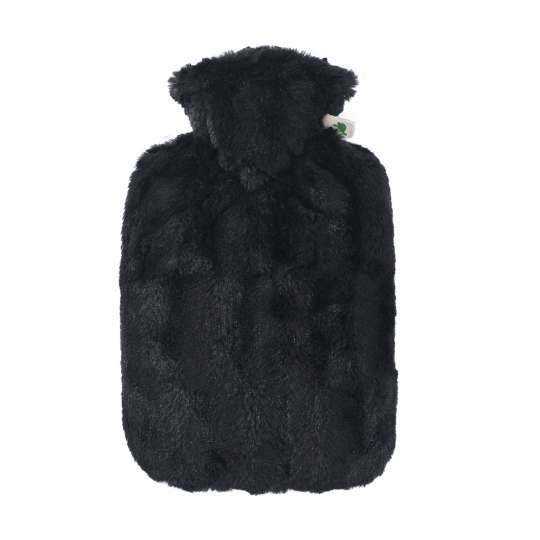 Hugo Frosch  0575 Klassik Wärmflasche Bezug in Tierfelloptik schwarz