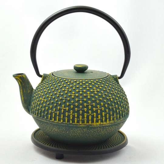 JA-UNENDLICH: Teekanne aus Gusseisen, Country, Modell Hoshi mit Untersetzer