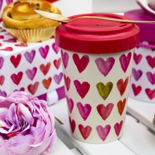 PPD Aquarell Hearts To-Go Becher