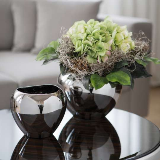 Fink Living AVA Vasen, Keramik, silberfarben Milieu