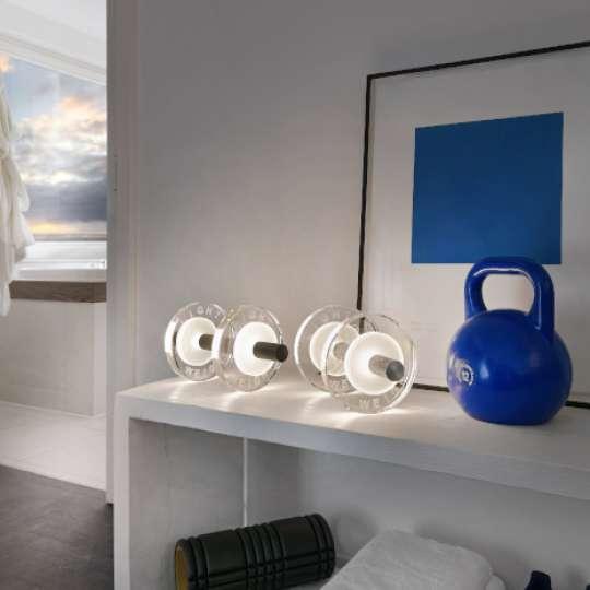 Tischleuchte LIGHT WEIGHT im Hantel-Design von Sompex