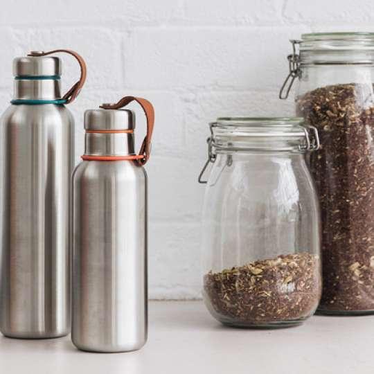 Edelstahl Trinkflaschen im stylischen Retro-Design