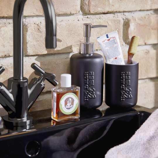 Tom Tailor SOHO BLACK Keramik Seifenspender und Zahnputzbecher