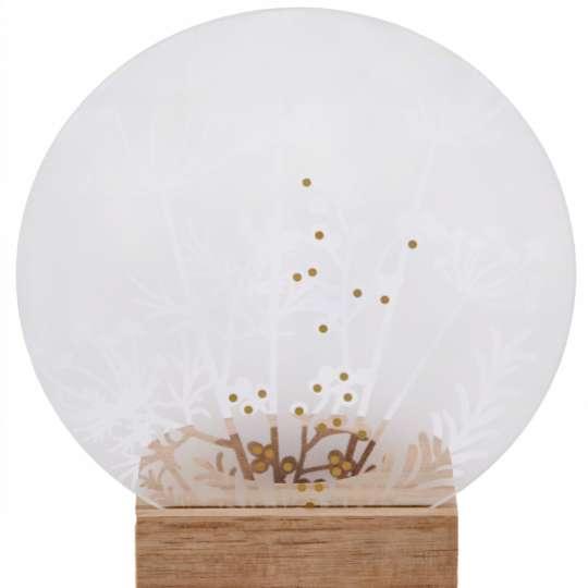 Räder: Poesien auf Glas / Glasscheibe mit Golddruck und Holzfuß / Motiv Blüten / mit Licht