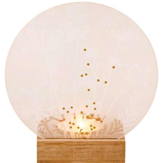 RRäder: Poesien auf Glas / Glasscheibe mit Golddruck und Holzfuß / Motiv Wiese / mit Licht