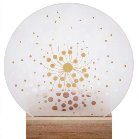 Räder: Poesien auf Glas / Glasscheibe mit Golddruck und Holzfuß / Motiv 'Blüten' / mit Licht