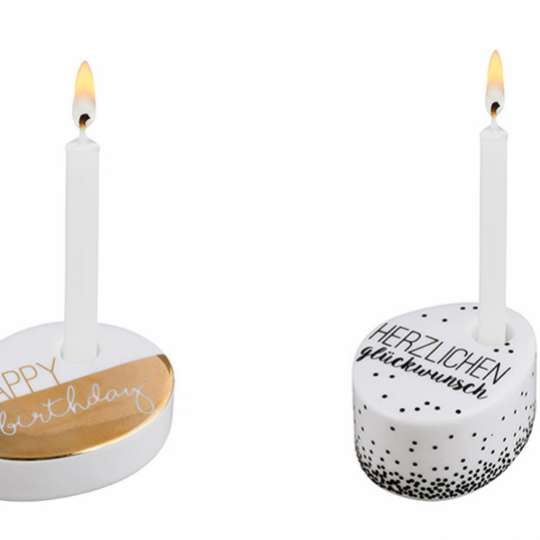 Raeder Wunschkerze / Minikerzenständer aus glasiertem Porzellan