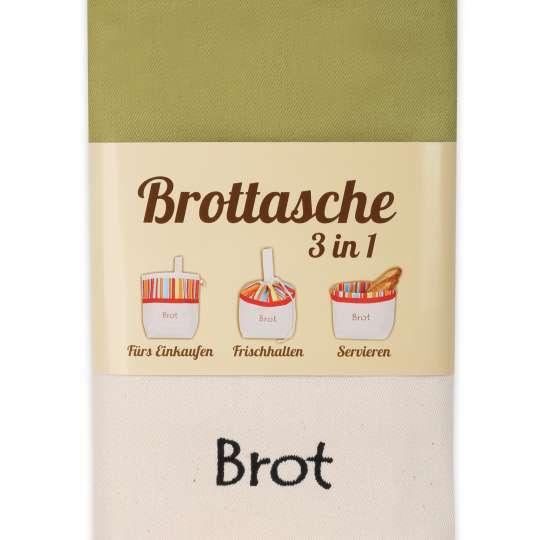 Slowroom: Brottasche Olive 3 in 1 fürs Einkaufen, Frischhalten, Servieren